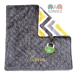 Personalized Grey Yellow Multi Chevron Double Minky Binky Blanket